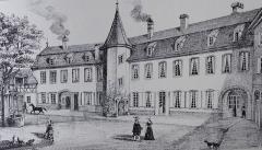 Maison -  Alsace, Bas-Rhin, Vues historiques de Strasbourg, 15 rue Brûlée, Ancien Hôtel Mullenheim, Sturm, Manteuffel, Gravure de Naeher