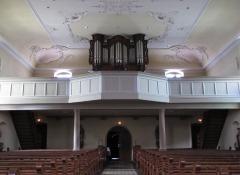 Eglise Saint-Blaise -  Alsace, Bas-Rhin, Valff, Église Saint-Blaise (PA00085206, IA00024037): Vue intérieure de la nef vers la tribune d'orgue.