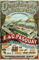 Ancienne Papeterie Pasquay - Deutsch:  Dampfziegelei & Kalkwerke. E. & C. Pasquay. Wasselnheim / E. Hydraulischer Kalk. Plakat, ca. um 1900.