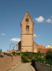 Eglise protestante Saint-Pierre - Français:   Alsace, Bas-Rhin, Wolfisheim, église protestante (tour-porche datée de 1465)
