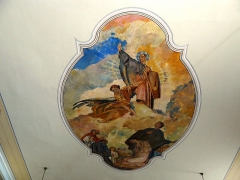 Eglise Saint-Gilles - Français:   Œuvre du peintre René Kuder se trouvant sur le plafond de la nef de l\'église  peint en 1932 représentant Saint-Gilles protecteur du village.