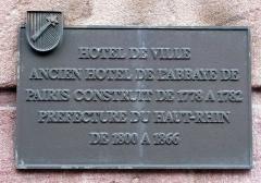 Hôtel de ville -  Hôtel de Ville de Colmar, Tafel