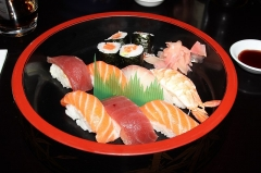 Maison - English: Japanese dish in At sunrise sushi restaurant located 15 Berthe Molly street in Colmar, France.