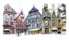 Maison -  croquis feutre fin et aquarelle d'après photo / feltpen and watercolour sketch from a photo