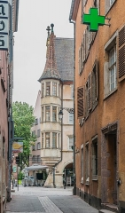 Maison - English: View of the building at 19 Grand'Rue from Rue Morel in Colmar, Haut-Rhin, France