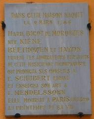 Maison - Deutsch: Infotafel am Geburtshaus von Marie Bigot