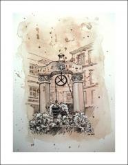 Puits datant de 1584 -  Puits de la place des Dominicains à Colmar (France); croquis à la plume sur fond de lavis sur papier aquarelle.
