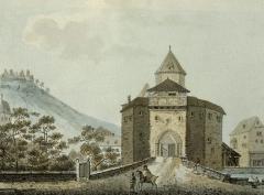 Ancien château impérial dit de Saint-Léon-Pfalz, ancien château des évêques de Strasbourg - Deutsch: Ansicht der Burg Egisheim im 18. Jahrhundert