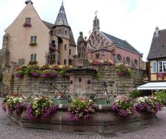 Ancien château impérial dit de Saint-Léon-Pfalz, ancien château des évêques de Strasbourg - Fontaine fontaine St Léon