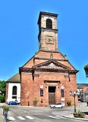 Eglise catholique Saint-Martin - Français:   Façade et clocher de l\'église saint Martin de Masevaux. Haut-Rhin.
