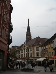 Temple réformé Saint-Etienne - English: Mulhouse from Rue du Sauvage with Temple Saint-Etienne in background