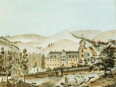 Ancienne abbaye de Pairis -  Pairis, l'une des 17 estampes en taille-douce coloriées, 23 x 16,5 cm, de Vues pittoresques de l'Alsace;  Librairie Académique, Strasbourg. Auteur du texte: Philippe-André  Grandidier (1752-1787); illustrations: François Walter (1755-1830).