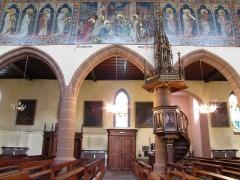 Eglise catholique Saint-Hippolyte - Alsace, Haut-Rhin, Église Saint-Hippolyte de Saint-Hippolyte (PA00085661, IA68005984). Chaire à prêcher (XIXe) et fresques néo-gothiques