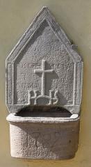 Eglise catholique Saint-Sébastien - Alsace, Haut-Rhin, Église Saint-Sébastien de Soultzmatt (PA00085689, IA68004357). Bénitier ou pierre tombale? (1782)