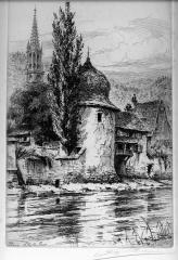Ancienne enceinte - Français:   Thann, La Vieille Tour - gravure de Charles Pinet (19,5 x 28 cm)