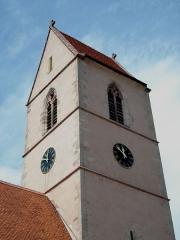 Eglise catholique Saint-Jean-Baptiste - English: The bell tower of Church of Wattwiller