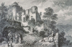 Château de Hohlandsberg ou Hohlandsbourg - English: Château du Hohlandsbourg, Vue générale ,de Frédéric Théodore Lix / Armand Kohl graveur