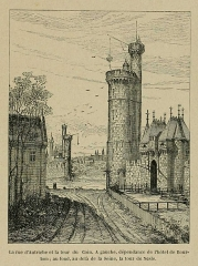 Enceinte de Philippe-Auguste - English: The rue d'Autriche (=Street of Austria) in the 14th century in Paris. The street was at the foot of the eastern side of the wall of Philippe-Auguste. On the left, the hotel Bourbon. In the background, on the other bank of the Seine river, the gateway and the Nesle tower, the abbeye of Saint-Germain des Près. On the right, the tour du coin and the Louvre entrance gate with drawbridge.