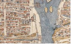 Fontaine du Trahoir - English: The 3 towers (tour de Nesle, tour du coin, tour du bois) on the Plan de Truschet and Hoyau (1550).
