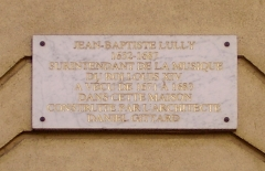 Hôtel Lulli - English: Hôtel Lully - built for the musician by Daniel Gittard. 45 rue des Petits-Champs, Paris 2nd arrondissement. Commemorative plaque