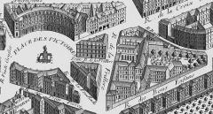 Ancien hôtel de Toulouse - English: The grounds of the Hôtel de Toulouse and Place des Victoire from the Turgot map of Paris circa 1737
