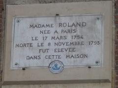 Immeuble - English: Plaque on the house were grew Madame Roland, 41 quai de l'Horloge, Paris 1st arr.