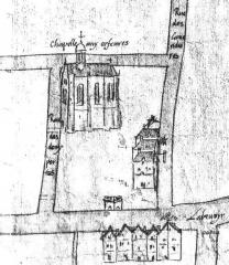 Immeuble -  Détail d'un facsimilé (1879) du plan de la censive de Saint-Germain l'Auxerrois (v. 1550), avec la rue des Deux-Portes (actuelle rue des Orfèvres) et la chapelle aux orfèvres (chapelle Saint-Éloi).