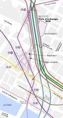 Métropolitain, station Châtelet -  Plan du complexe souterrain Métro/RER de Châtelet (Paris)