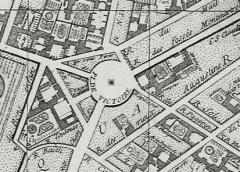 Place des Victoires : le sol - La place des Victoires en 1728. Détail du plan de Delagrive