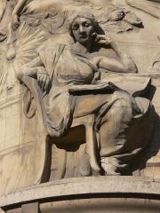Bibliothèque Nationale de France - Bibliothèque nationale de France - site Richelieu: bas-relief à l'angle de la rue Vivienne et de la rue Colbert
