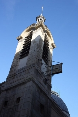 Eglise Notre-Dame-de-Bonne-Nouvelle - Deutsch: Katholische Pfarrkirche Notre-Dame-de-Bonne-Nouvelle im 2. Arrondissement von Paris, 1823-1830 von Etienne-Hippolythe Godde erbaut, Turm mit Uhr