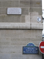 Enceinte de Philippe-Auguste - English: Plaque at the place of the