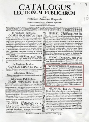 Immeuble - English: Catalogue of the lectures in University of Tartu (=Dorpat) in the autumn of 1694