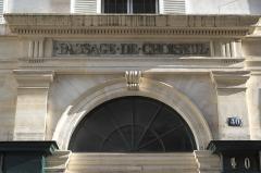 Passage Choiseul et passage Sainte-Anne - Deutsch: Rue Dalayrac N° 40 im 2. Arrondissement in Paris, Eingang zur Passage de Choiseul