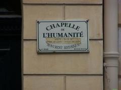 Temple de l'Humanité ou du Positivisme - English: Paris, rue Payenne. Chapelle de l'humanité. Sign
