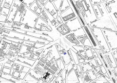 Théâtre Dejazet - English: This is a small section of an 1869 map of Paris which shows the location of the Théâtre Déjazet (marked blue) on the boulevard du Temple. Other theatres indicated on the map are the Théâtre de la Porte Saint-Martin and the Ambigu-Comique (demolished 1966) on the boulevard Saint-Martin, the Folies-Dramatiques (building demolished in 1969) on the rue de Bondy (now the rue René Boulanger), the Cirque du Prince Eugène (no longer exists) on the rue du Malte, the fourth Délassements-Comiques (destroyed by fire during the Paris Commune in 1871) on the boulevard du Prince Eugène (now the Boulevard Voltaire), and the Cirque Napoleon on the rue Amelot. The title of the original map in French is:
