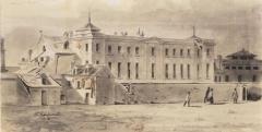 Pavillon de l'Arsenal, actuellement bibliothèque de l'Arsenal - Français:   La Bibliothèque de l\'Arsenal vue du boulevard Morland. Dessin de Charles Ransonnette (1793-1877).