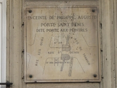 Enceinte de Philippe-Auguste - English: Plaque at the place of