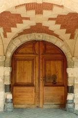 Hôtel de Clermont-Tonnerre - English:  Door of 18 Place des Vosges, Paris. Victor Hugo's house entrance.