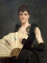 Immeuble - Polski: Barbara MacKay, koniec XIX wieku - Portret pani Fanny Léontine Gronkowskiej z wachlarzem, 1891, olej na płótnie