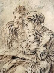Immeuble - Polski: François Boucher (1703-1770) - Młoda matka z dziećmi, tusz na papierze