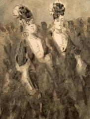 Immeuble - Polski: Constantin Guys (1802-1892) - Dwie pięknisie na spacerze, tusz na papierze