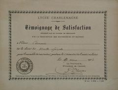 Lycée Charlemagne (ancienne maison professe des Jésuites) -  Témoignage de satisfaction, billet d'honneur délivré aux bons élèves au Lycée Charlemagne (Paris). 16 x 12 cm, 1902, élève Cornaire.