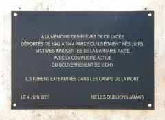Lycée Charlemagne (ancienne maison professe des Jésuites) - English: Commemoration plaque on Lycee Charlemagne, Paris