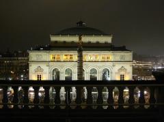 Théâtre de la Ville -  Théâtre de la Ville, vu depuis le balcon du théâtre du Châtelet, de nuit