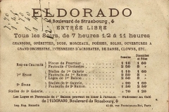 Cinéma l'Eldorado -  Eldorado, Paris, 4 boulevard de Strasbourg; reverse of a chromolithograph advertisement card