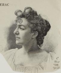 Théâtre de la Porte-Saint-Martin - Français:   Léontine Bouchetal, actrice de théâtre, Mère Marguerite, lors de la première de Cyrano de Bergerac en 1897