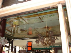 Charcuterie -  Pork butcher's shop and delicatessent in Paris, at the corner of rue saint-Sabin and rue Amelot. The shop has been decorated in 1880-1880 in Belle Epoque style.  (ceiling)