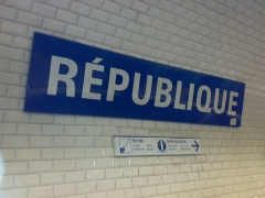 Métropolitain, station République -  République station on the Paris Métropolitain network.