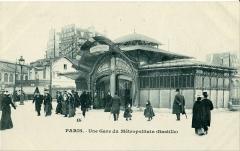 Métropolitain, station Bastille -  Carte postale ancienne Paris: Une gare du Métropolitain (Bastille)